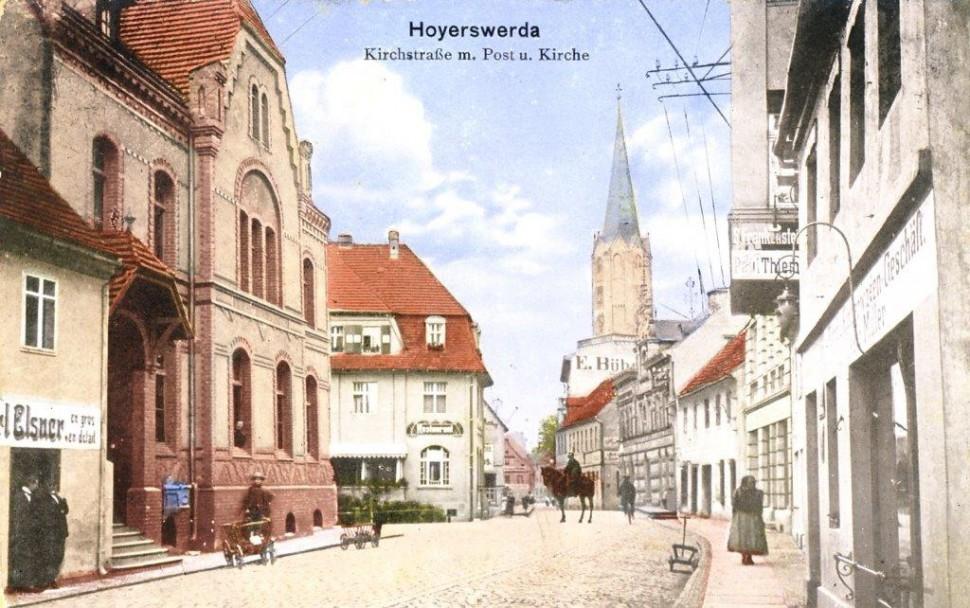 Blick auf die Kirchstraße 1913 (Copyright Stadtmuseum Hoyerswerda)